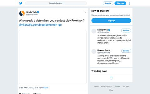 """SimilarWeb on Twitter: """"Who needs a date when you can just play Pokémon? https://t.co/tSGSvwIe4z https://t.co/NgI6Ky9zZP"""""""