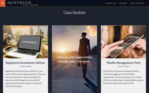 Screenshot of Case Studies Page xantrion.com - A Strategic IT Partner   Xantrion Case Studies - captured Oct. 20, 2018