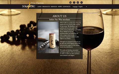 Screenshot of Home Page solocru.com - Solo Cru - Italian Fine Wine Merchants - captured Oct. 7, 2014