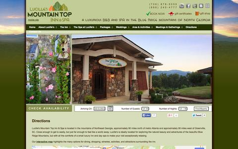 Screenshot of Contact Page Maps & Directions Page lucillesmountaintopinn.com - Lucille's Mountain Top Inn & Spa: Directions - captured Oct. 3, 2014