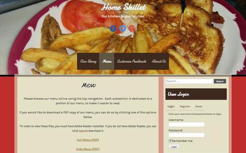 Screenshot of Menu Page home-skillet.com - Menu | Home Skillet - captured Oct. 1, 2014