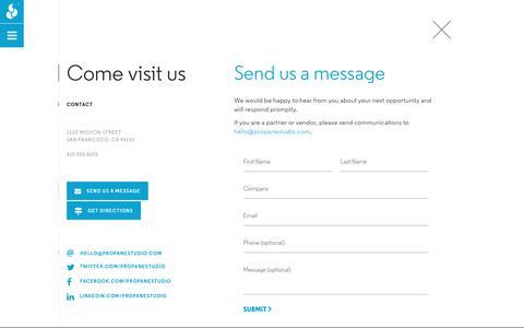 Screenshot of Contact Page propanestudio.com - Contact | Propane - captured July 23, 2018