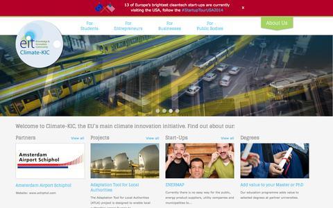 Screenshot of Home Page climate-kic.org - Climate-KIC | The EU's main climate innovation initiative - captured Sept. 23, 2014