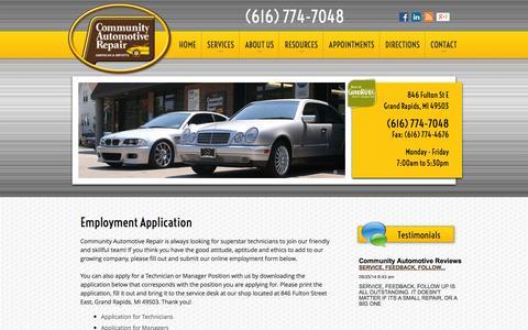 Screenshot of Jobs Page communityautomotive.com - Employment Opportunities | Auto Repair Grand Rapids, MI | Community Automotive Repair - captured Oct. 8, 2014
