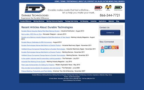 Screenshot of Press Page durable-tech.com - In the News | Durable Technologies - captured Oct. 5, 2014