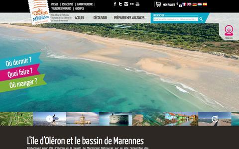 Screenshot of Home Page ile-oleron-marennes.com - Île d'Oléron - Marennes Tourisme - captured June 25, 2017