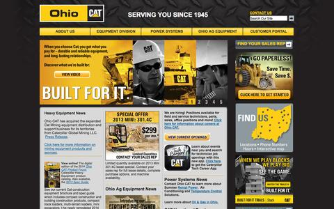 Screenshot of Home Page ohiocat.com - Ohio Cat: Caterpillar Equipment Dealer Serving Ohio, Kentucky, Indiana; World Wide Rentals, Used equipment, Parts, Service, Skid Steer loaders, excavators, tractors, agricultural equipment, power systems. - captured Sept. 26, 2014