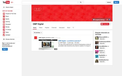 Screenshot of YouTube Page youtube.com - OMP Digital  - YouTube - captured Oct. 29, 2014