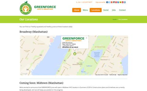 Screenshot of Locations Page greenforcejuice.com - Greenforce Juice | Our Locations - captured Sept. 27, 2014