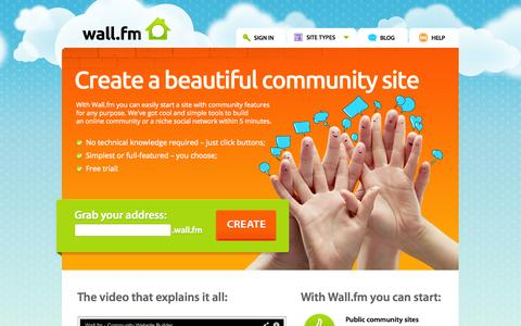 Screenshot of Home Page wall.fm - Wall.fm - Create Community Site | Start Site with Social Network - captured Sept. 23, 2014
