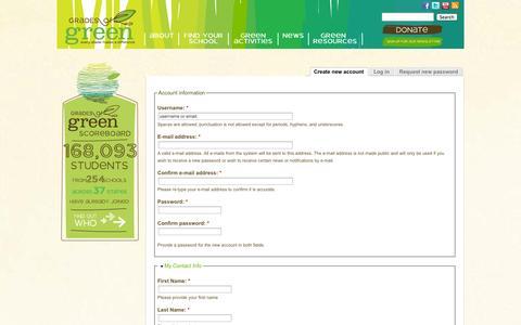 Screenshot of Signup Page gradesofgreen.org - User account   Grades of Green - captured Sept. 30, 2014