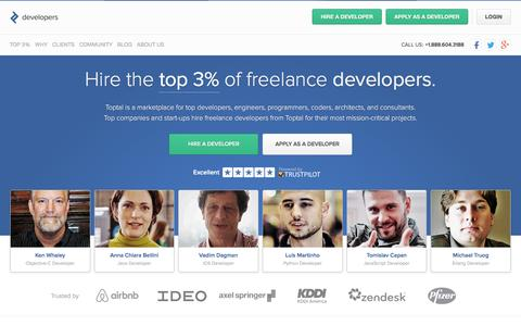 Screenshot of Developers Page toptal.com - Hire Freelance Software Developers from the Top 3% | Toptal - captured Dec. 7, 2015