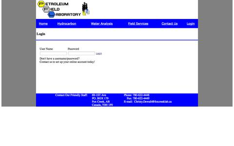 Screenshot of Login Page foxcreeklab.ca - Petroleum Field Laboratory Login - captured Oct. 2, 2014