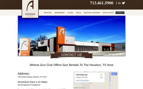 Screenshot of Contact Page athenagunclub.com - Gun Rentals Houston, TX | Athena Gun Club - captured Sept. 30, 2014