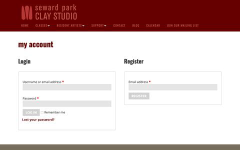 Screenshot of Signup Page Login Page sewardparkart.org - My Account - Seward Park Clay Studio - captured Oct. 18, 2018