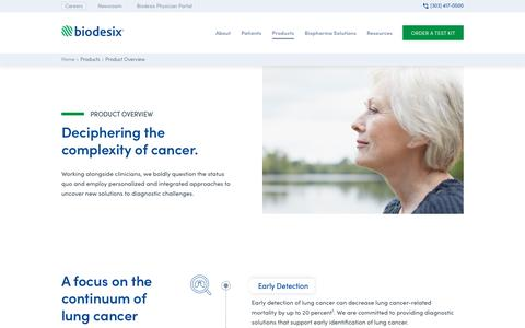 Screenshot of Products Page biodesix.com - Products  - Biodesix - captured Sept. 22, 2019