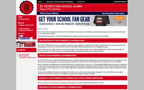 Screenshot of Privacy Page stpetersalumni.org - St. Peter's High School Alumni - Privacy Policy - captured March 4, 2016