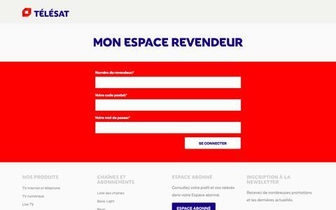 Screenshot of Login Page telesat.be - Connexion à l'Espace revendeur | TÉLÉSAT - captured Sept. 23, 2018
