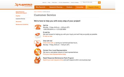 Screenshot of Support Page playworld.com - Customer Service | Playworld� - captured Dec. 10, 2015