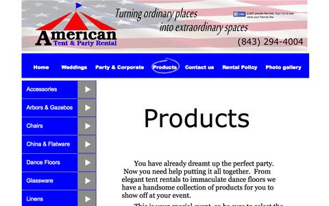 Screenshot of Products Page americantentsandevents.com - Wedding & Party Rental Products -Tents, Tables, Chairs, Linens, China, in Myrtle Beach, SC - captured Oct. 4, 2014