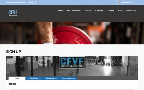 Screenshot of Signup Page crossfitvalleyforge.com - Sign Up - CrossFit Valley Forge - captured Dec. 8, 2018
