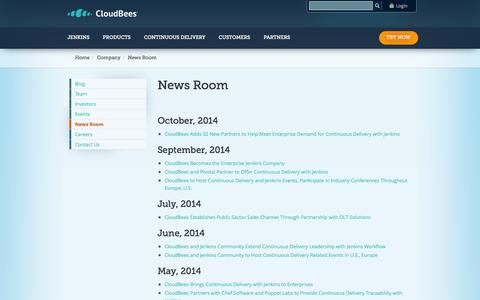 Screenshot of Press Page cloudbees.com - News Room | CloudBees - captured Oct. 10, 2014