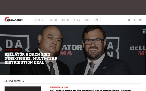 Screenshot of Press Page bellator.com - MMA News | All Articles on Bellator MMA | Bellator.com - captured Oct. 1, 2018