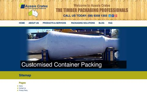 Screenshot of Site Map Page aussiecrates.com.au - Sitemap | Aussie Crates Packaging Pages - captured Oct. 4, 2014