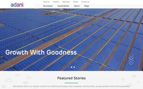 Screenshot of Home Page adani.com captured July 20, 2019