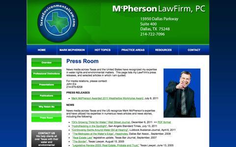Screenshot of Press Page texasenvironmentallaw.com - Press Room - McPherson Law - captured Oct. 27, 2014
