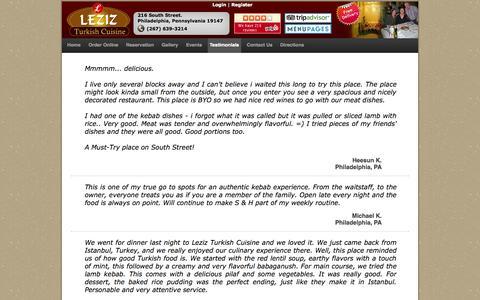 Screenshot of Testimonials Page lezizturkishcuisine.com - Customer's Testimonial-Review Pennsylvania 19147 | Feedback for About food/Restaurant - captured Sept. 30, 2014