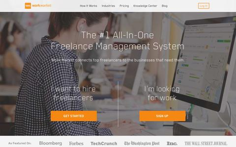 Screenshot of Home Page workmarket.com - Premium Freelance Management System & Workforce Solutions | Work Market - captured Jan. 21, 2016