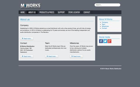 Screenshot of About Page mworksonline.com - Music Works Distribution - About us - captured Oct. 4, 2014
