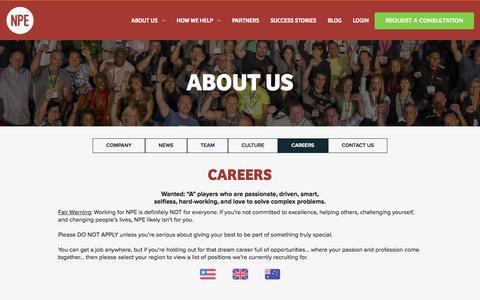 Screenshot of Jobs Page netprofitexplosion.com - About Us | Net Profit Explosion - captured Nov. 19, 2015