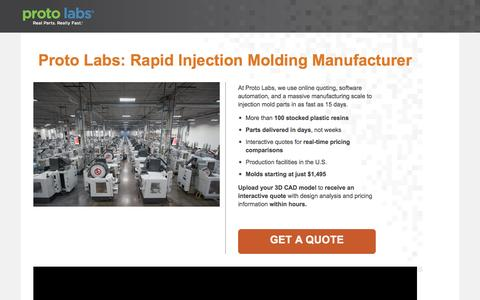 Screenshot of Landing Page protolabs.com - Injection Molding Manufacturer. Injection molds. - captured Oct. 13, 2016