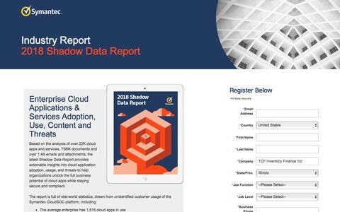 Screenshot of Landing Page symantec.com - Industry Report: 2018 Shadow Data Report | Symantec - captured Sept. 21, 2018