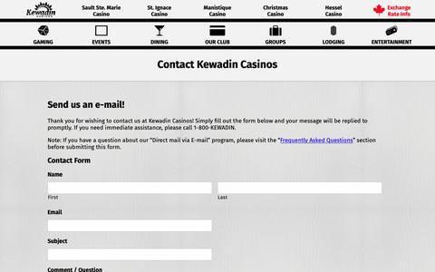 Screenshot of Contact Page kewadin.com - Contact Kewadin Casinos - Kewadin Casinos - captured Oct. 15, 2018