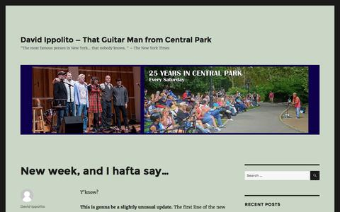 """Screenshot of Home Page thatguitarman.com - David Ippolito — That Guitar Man from Central Park – """"The most famous person in New York… that nobody knows. """" –  The New York Times - captured Dec. 22, 2016"""