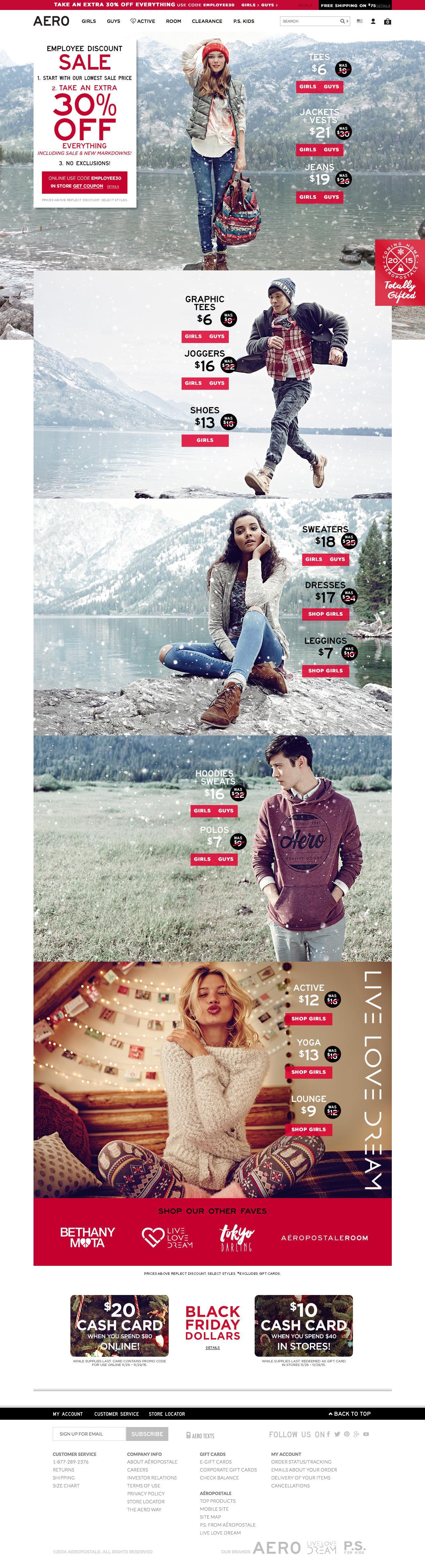 Screenshot of aeropostale.com - Guys & Girls Clothes, Hoodies, Graphic Tees & Jeans | Aeropostale - captured Nov. 11, 2015