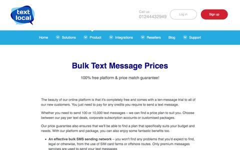 Screenshot of Pricing Page textlocal.com - Bulk Text Message Prices - captured Jan. 6, 2017
