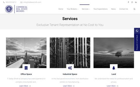 Screenshot of Services Page tdallassmith.com - Services | T. Dallas Smith & Company - Tenant Representation Brokers - captured Oct. 27, 2017