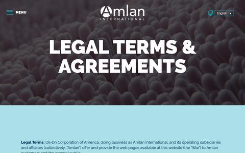 Screenshot of Terms Page amlan.com - Legal - Amlan International - captured Dec. 18, 2018