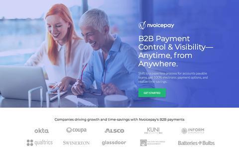 Screenshot of Landing Page nvoicepay.com - B2B Payment Services - Nvoicepay.com - captured Sept. 19, 2018