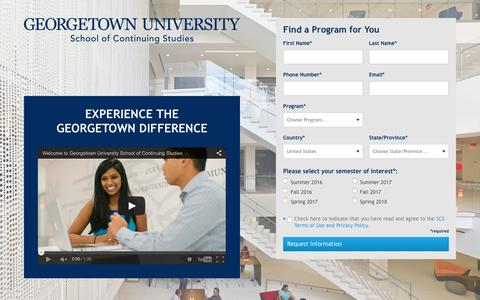 Screenshot of Landing Page georgetown.edu - Experience the Georgetown Difference |  	 Georgetown University School of Continuing Studies - captured Dec. 30, 2015