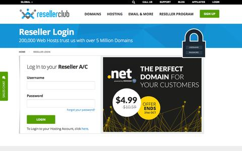Screenshot of Login Page resellerclub.com - Login - Domain/Hosting Reseller Account | ResellerClub - captured Oct. 26, 2015