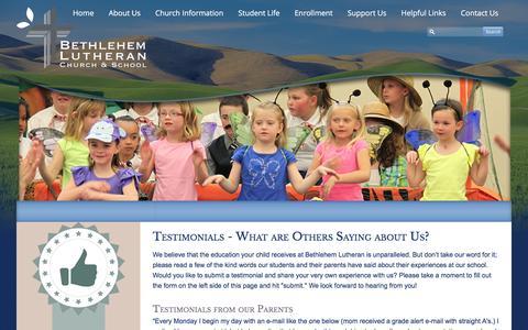 Screenshot of Testimonials Page blcbls.org - Testimonials - Bethlehem Lutheran School (Bethlehem Lutheran School) - captured Feb. 7, 2016
