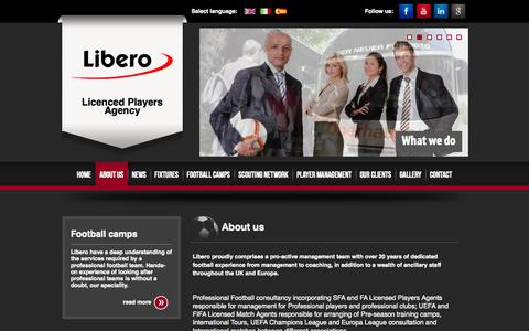 Screenshot of About Page liberoagency.com - About Libero - Football Consultants & Professional Pre Season Football Tours - captured Oct. 28, 2014