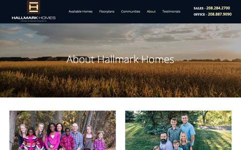 Screenshot of About Page hallmarkhomesidaho.com - About Hallmark Homes | Boise Custom Home Builder - captured Sept. 26, 2018