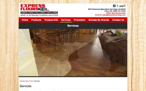 Screenshot of Services Page expressfloorstogo.com - Services - Install Laminate Flooring in San Diego, CA | Express Floors To Go - captured Sept. 30, 2014