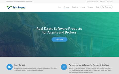 Screenshot of Products Page proagentsolutions.com - Real Estate Software Products | Pro Agent Solution - captured July 8, 2018